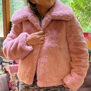Top Shop Cropped Faux Fur Coat (rose pink)